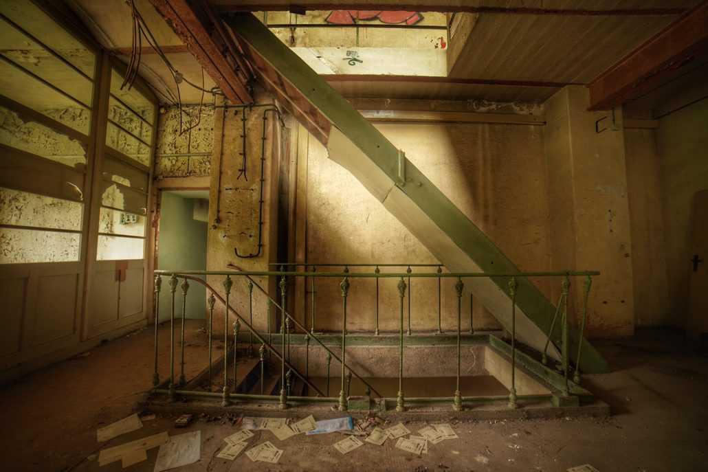 Weg zur Kantine in der Linoleumfabrik
