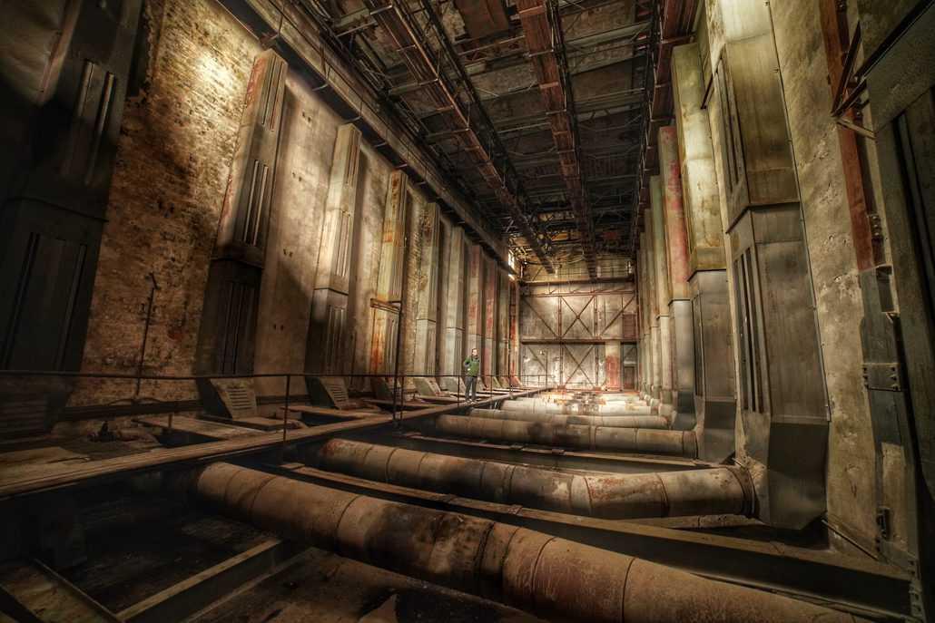 Die riesigen Hallen im Linoleumwerk